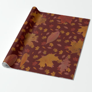 Golden Autumn Leaves on Wine Red Custom Color Wrapping Paper