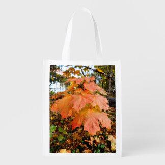 Golden Autumn Leaves Reusable Grocery Bag