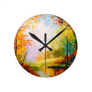 Golden autumn round clock