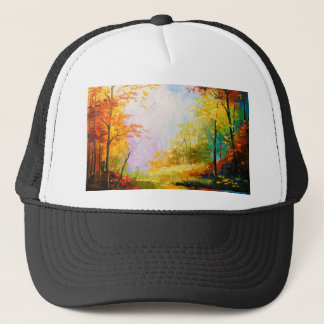 Golden autumn trucker hat