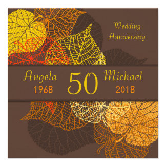 Golden autumnal leaves Wedding Anniversary Personalized Invitation