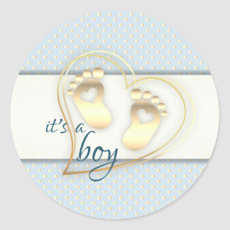 Golden Baby Boy Footprints and Hearts Baby Shower Classic Round Sticker