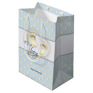 Golden Baby Boy Footprints and Hearts Baby Shower Medium Gift Bag