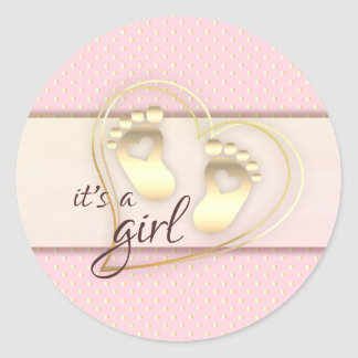 Golden Baby Girl Footprints and Hearts Baby Shower Classic Round Sticker