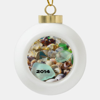 Golden Ball Ornaments Add year Sea Glass Seaglass