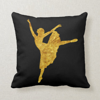 Golden Ballerina | Solid Black Throw Pillow