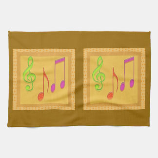 Golden Base Dancing Music Symbols Tea Towel