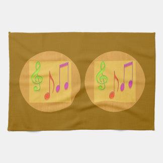 Golden Base Dancing Music Symbols Hand Towels