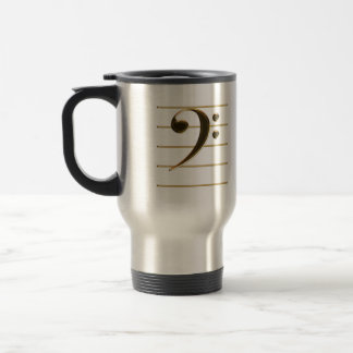 Golden Bass Clef Music Note Travel Mug