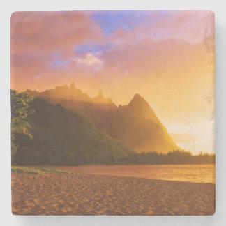 Golden beach sunset, Hawaii Stone Coaster