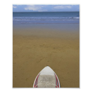 golden beach with surfboard poster