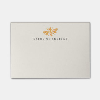 Golden Bee Watercolor Personalized Post-it Notes
