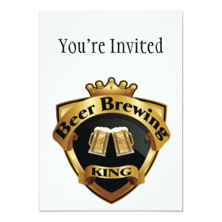 Golden Beer Brewing King Crown Crest 5x7 Paper Invitation Card