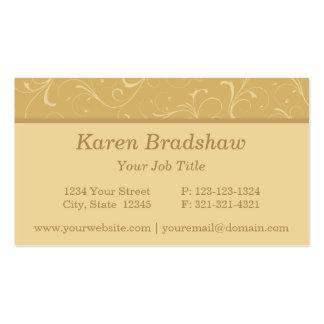 Golden Beige Floral Scrolls & Curls Business Cards