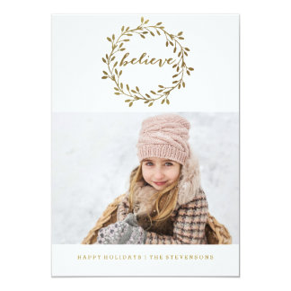 Golden Believe | Pretty Wreath Holiday Card