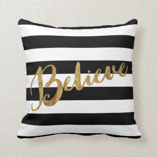 Golden Believe Stripes Cushion