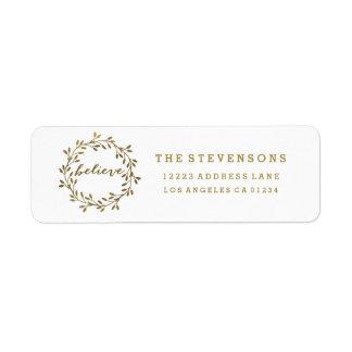 Golden Believe | Wreath Holiday Address Labels