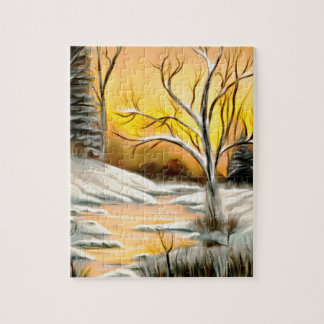 Golden Birch Winter Mirage Jigsaw Puzzle