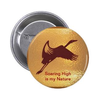 Golden Bird - Soaring High is my nature 6 Cm Round Badge