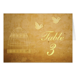 Golden Birdcage Wedding Table Number Card