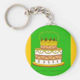 Golden Birthday Cake Key Chain