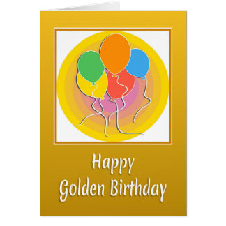 Golden Birthday Card with Balloons
