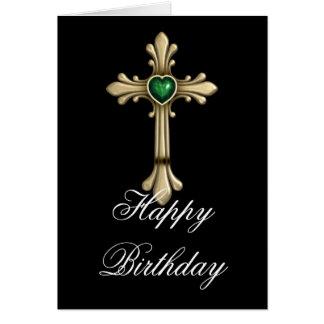 Golden Birthstone Green 2 Cross Happy Birthday Card