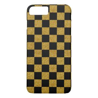 Golden black checkers board iPhone 7 plus case