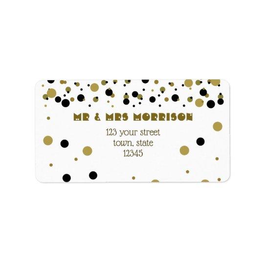 Golden Black Dots Modern Stylish Trendy Couple Label