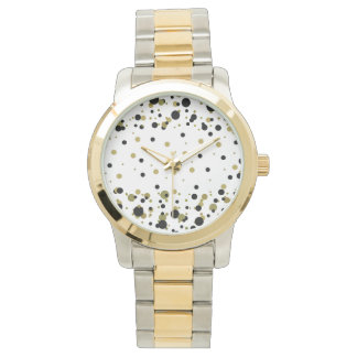Golden Black Polka Dots Confetti Stylish Trendy Watch