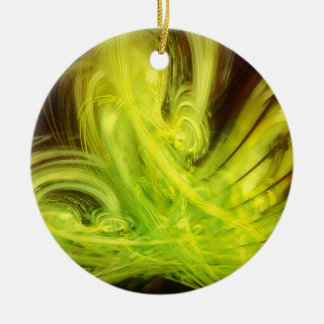 Golden Blossom Fractal Christmas Ornaments