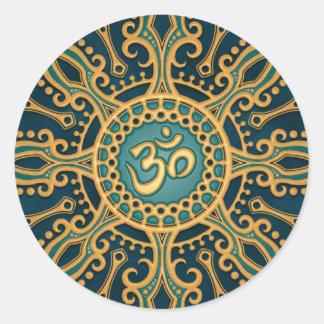 Golden Blue Aum Star Round Sticker