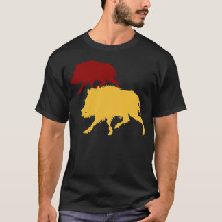 Golden Boar Wild Boars on the Run - Antique Print T-Shirt