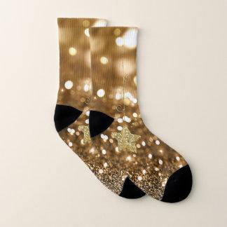 Golden Bokeh Bling Faux Glitter & Stars Socks
