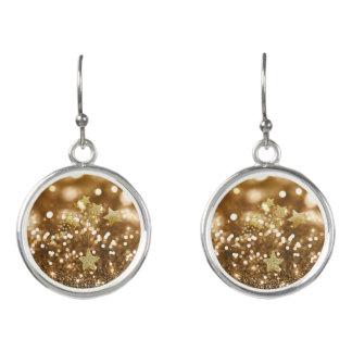 Golden Bokeh Faux Glitter & Stars Earrings