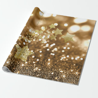 Golden Bokeh Faux Glitter & Stars Wrapping Paper