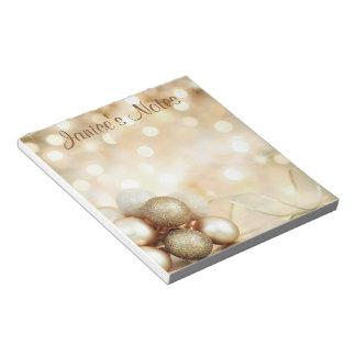 Golden Bokeh Ornament Balls Notepad