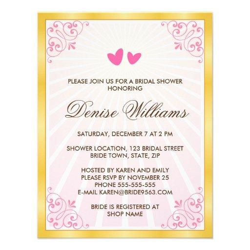 Golden border pink hearts romantic bridal shower invitation