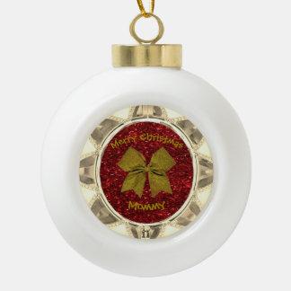 Golden Bow Ceramic Ball Decoration