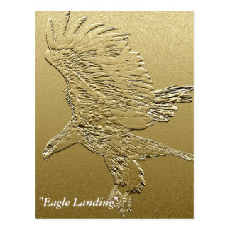 """Golden Boy"" Landing Eagle Gold Foil-effect Art Postcard"