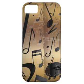 Golden Bronze and Black Music Notes iPhone 5 Cases