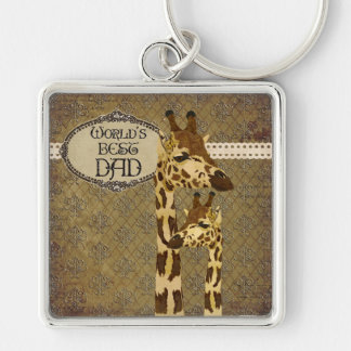 Golden Bronze Giraffes  Best Dad Keychain