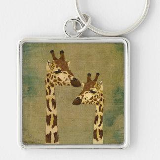 Golden Bronze Giraffes  Keychain