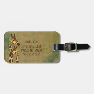 Golden Bronze  Giraffes  Luggage Tag