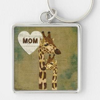 Golden Bronze Giraffes Mom Keychain