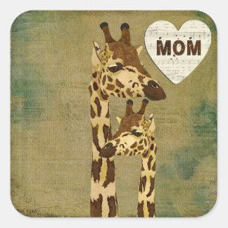 Golden Bronze Giraffes Mom Sticker