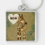 Golden Bronze Giraffes Mum Keychain
