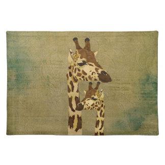 Golden Bronze Giraffes Placemat