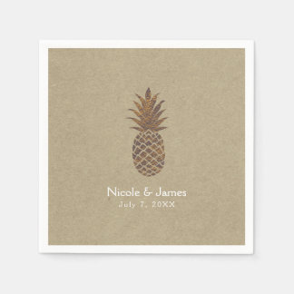 Golden Bronze Pineapple Kraft Natural Tropical Disposable Napkin