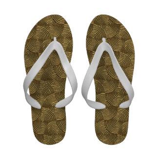 Golden Bronze Wavy Concentric Circles Sandals